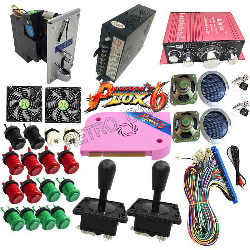 판도라의 상자를 가진 가득 차있는 장비 1 개의 Jamma 전력 공급에있는 6 PCB 1300 DIY 아케이드 게임 내각 기계를위한 동전 mech 조이스틱 Hap 단추