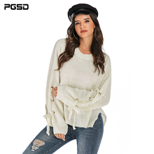 PGSD Autumn winter Solid color Frenulum knitted women sweater Long sleeve O-Neck Loose clothes female Warm soft Casual Pullover
