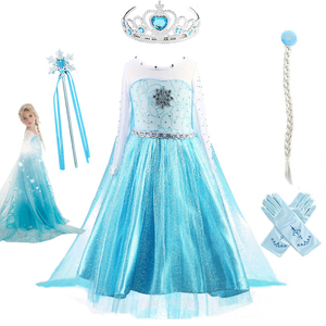 Fancy Baby Girl Princess Dresses for Girls Elsa Costume Bling Synthetic Crystal Bodice Elsa Party Dress Kids Snow Queen Cosplay(China)
