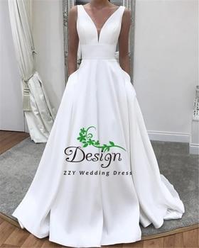 Vintage White Pleat V-Neck Satin Sash A-Line Lace-Up Wedding Dresses With Pockets Full-Length vestido de novia With Pockets фото