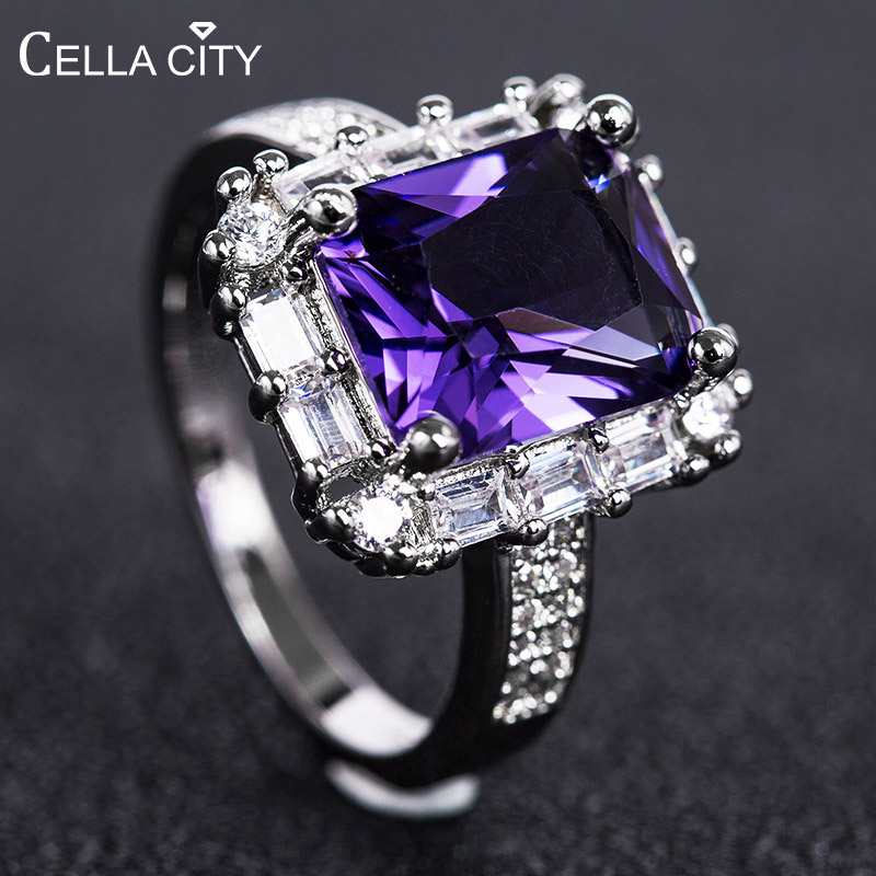 Cellacity Geometry Gemstones Ring For Women Silver 925 Jewelry Rectangle Sapphire Ruby Pink Crystal Female Gift Wholesale Party