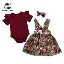 Newest Baby Girl Clothes Short Sleeve O-Neck Romper+Print Dress +Print Bow Headband Set 6M-24M Newborn