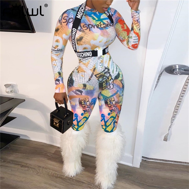 FQLWL Letter Print Turtleneck Sexy Bodycon Jumpsuit Women Overalls 2019 Autumn Winter Long Sleeve Rompers Womens Jumpsuit Female