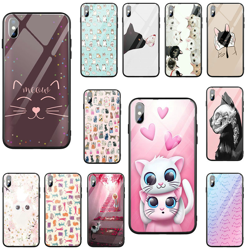 Tempered Glass Mobile Phone <font><b>Cases</b></font> for <font><b>iPhone</b></font> X XR XS 11 Pro Max 10 <font><b>8</b></font> 7 Plus 6 6S Plus Bags Cute Animal Kittens <font><b>Cat</b></font> image