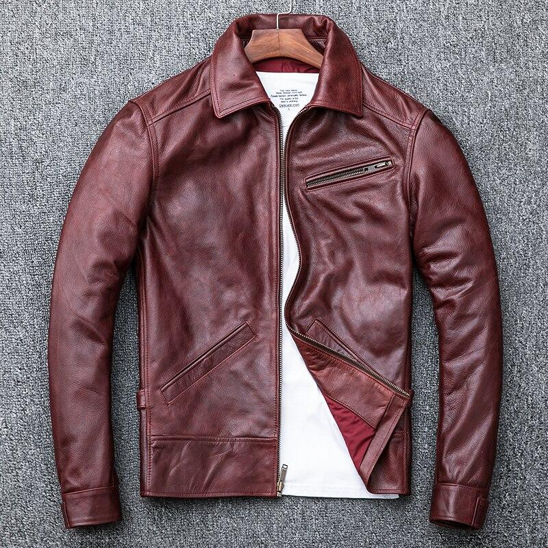 Genuine Leather Jacket Men Spring Cow Leather Coat Oil Wax Cowhide Bomber Motorcycle Jacket Veste Cuir Homme KJ1912