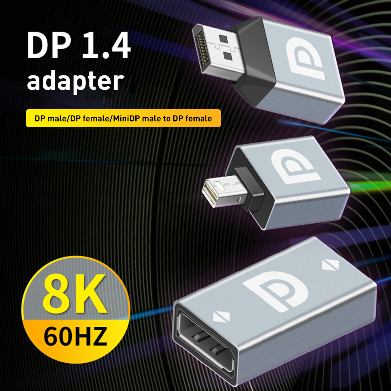 Преобразователь видео HD DP DP1.4 на DP женский мини DP адаптер Поддержка 8K @ 60Hz для ноутбука монитора домашнего проектора