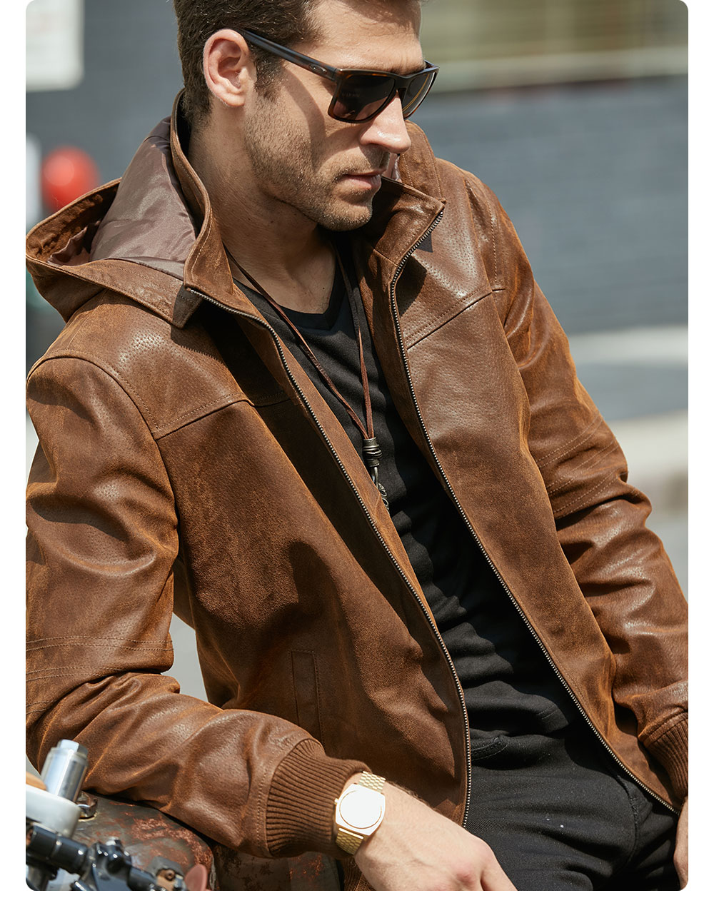 Hb15232d6c799453e8793c340c50e2c54f New Men's Winter Jacket Made Of Genuine Pigskin Leather With A Hood, Pigskin Motorcycle Jacket, Natural Leather Jacket