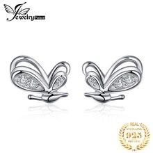 цена JewelryPalace Butterfly CZ Stud Earrings 925 Sterling Silver Earrings For Women Girls Korean Earrings Fashion Jewelry 2019 в интернет-магазинах