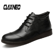 CLAXNEO Man Winter Boots Plush Fur Warm Snow Shoes Warm Male Leather Boot Genuine Leather clax Men's Shoe clax mens high boots genuine leather autumn casual motorcycle boots male shoe winter boot fur warm snow shoes