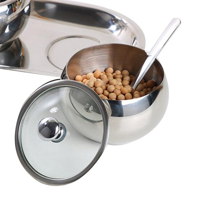 Couvercle en verre visuel en acier inoxydable 304   Boîte dassaisonnement, bocaux à sel et à poivre pour épices, bouteille outils de cuisine, sel et poivre 3 pièces