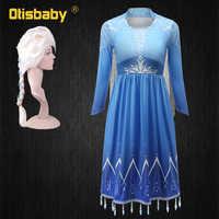 Nuevo Anna, la reina de las nieves Elsa 2 vestido de navidad niños Halloween carnaval disfraz Elsa niñas cristal azul claro vestido de Elsa de manga larga