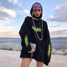Women Loose Streetwear Black Sweatshirt Knitted Hooded Shinning Print Hoodies Fashion Moletom Long Hoodie Women Tops Hot F817(China)