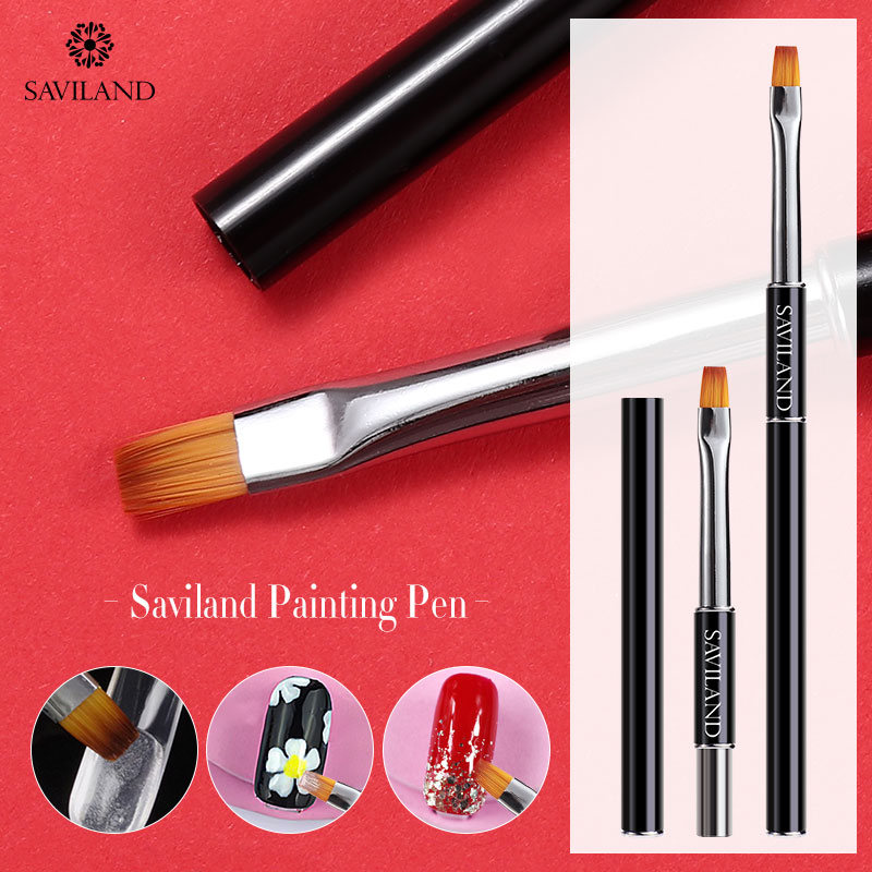 SAVILAND Brush Professional For Nail Art Painting Drawing Black UV Gel Brush Liner High Quality Nail Art Design Tools