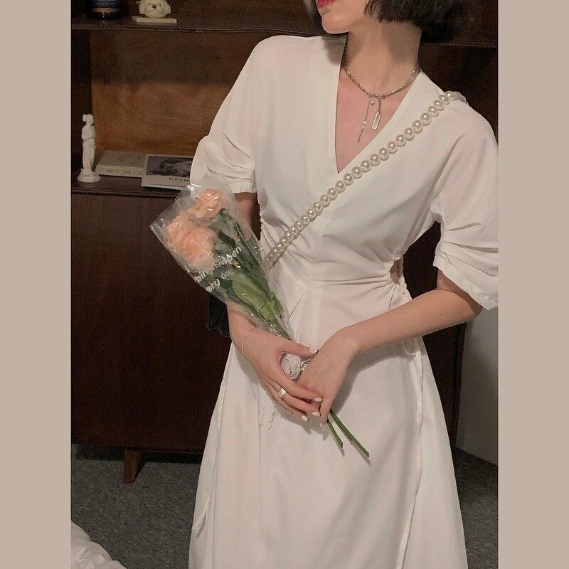 Реальная съемка экономически эффективным корейский стиль Хепберн наряд до талии короткий рукав платье