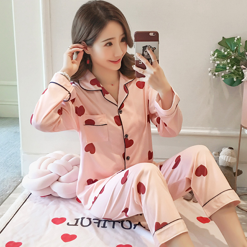 Autumn Pajamas Women's Korean-style Cute Cardigan Long Sleeve Tracksuit Loose-Fit Set M-XXL Original Photo Shoot