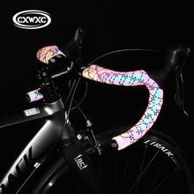 Anti Slip Road Fietsstuur Licht Veranderen Reflecterende Bike Bar Tape Racefiets Tape Wrap Pu Lederen Fietsen Stuur tapes