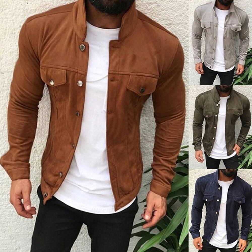 Brand Fashion Men Slim  Jackets Men's Casual Denim Jacket Turn-down Collar Single Breasted Solid S Jackets