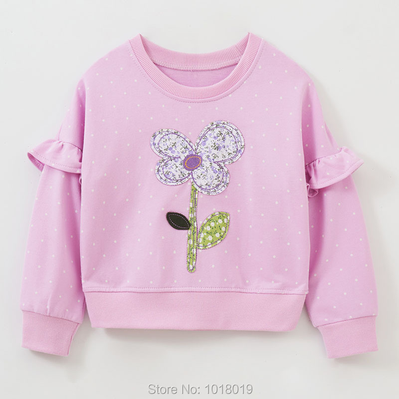 Bebe Girls Tops Fleeces Sweatshirt 100% Terry Cotton Sweater Children t shirt Kids Hoodies Blouses Baby Girl Clothes Dots Flower 1
