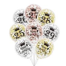 6 pçs/lote números 25 26 27 28 29 balões de aniversário, ouro rosa, prata 25th 26th 28, decorações de festa, aniversário claro balão