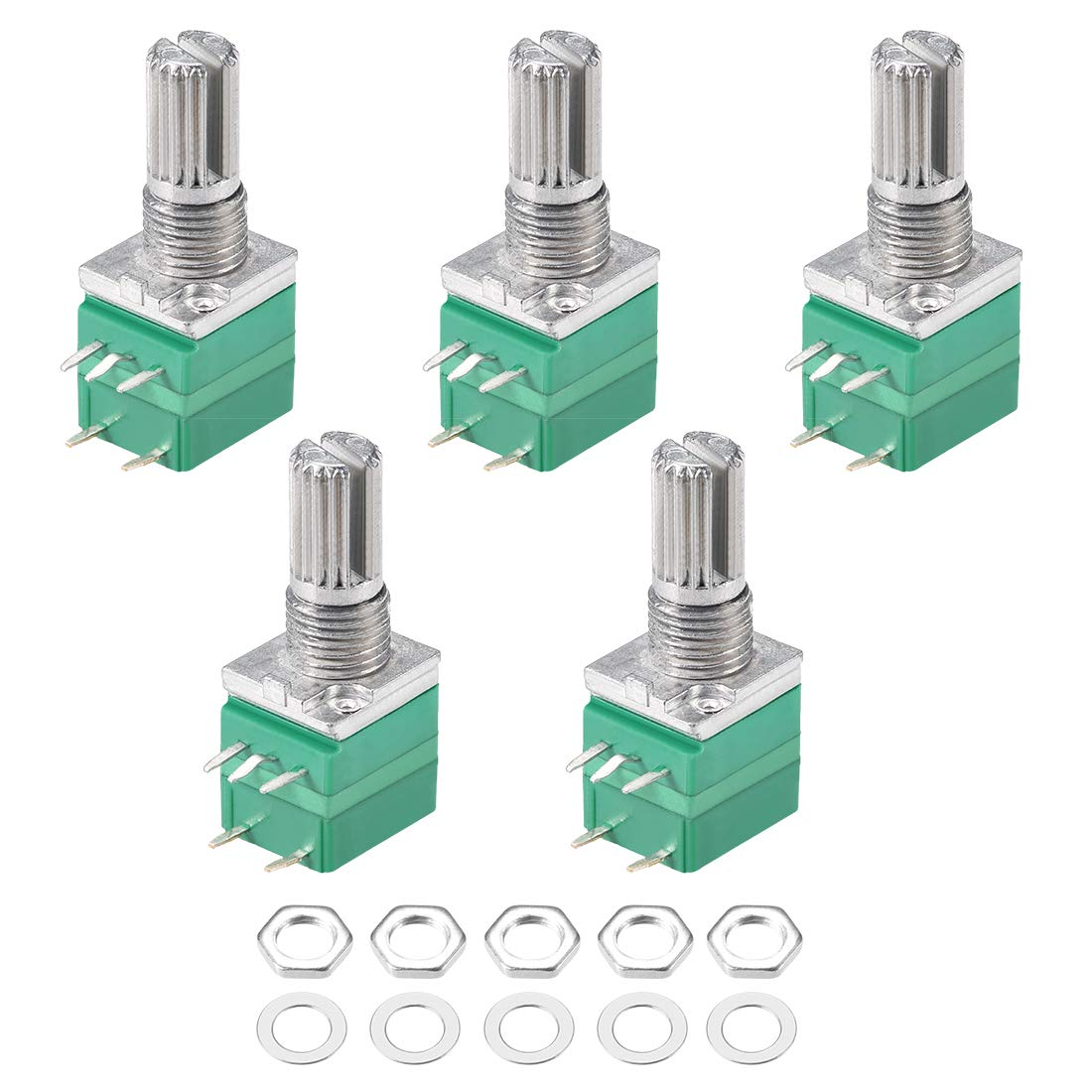 5pcs/lot RV097NS Potentiometer 5K 10K 20K 50K 100K 500K With Switch Audio 5pin Shaft 15mm Amplifier Sealing Potentiometer Kit