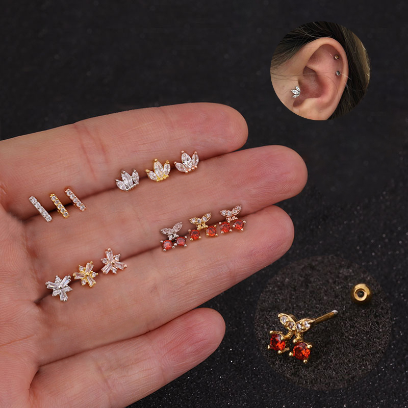 1PC Surgical Steel Earrings Triangle Zirconia Ear Studs Small Stainless Steel Cartilage Earring For Women Girls Stud Earrings