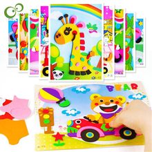 10 designs/lot DIY Cartoon Animal 3D EVA Foam Sticker Puzzle Series E Early Learning Education Toys for Children