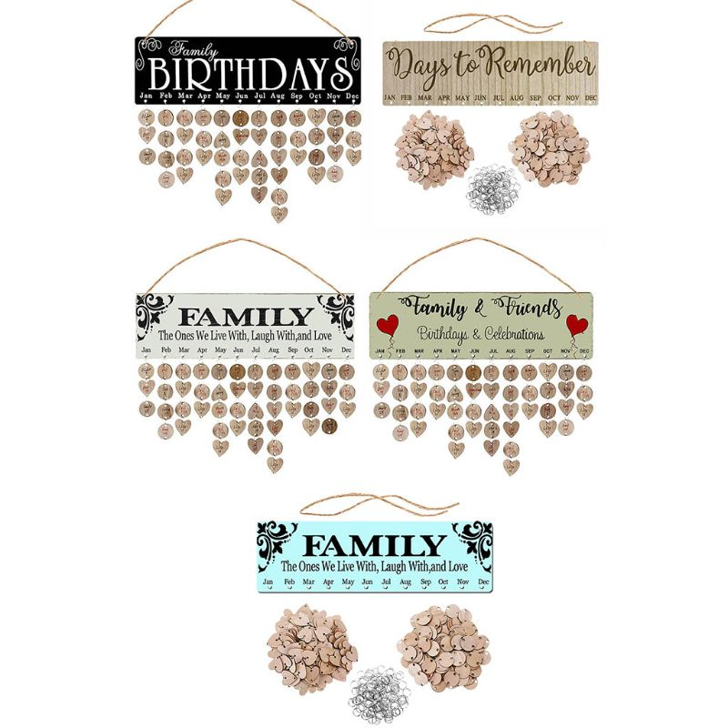 New Year Wooden Family Birthday Reminder Calendar Board Wall Hanging 2020 Decor N0HC