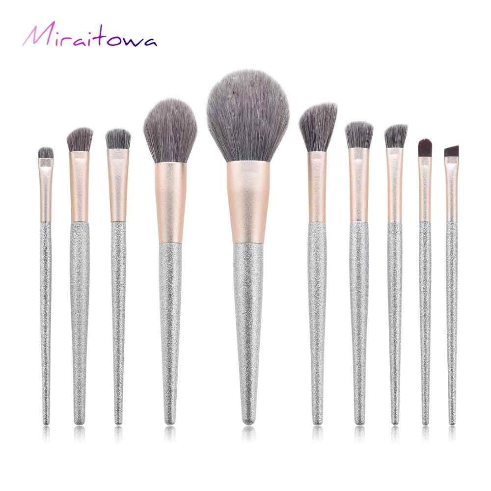 Miraitowa 10 sztuk lśniący zestaw pędzli do makijażu fundacja mieszania Powder Eye szczotka do twarzy zestaw narzędzi do makijażu wysokiej jakości pędzel do makijażu