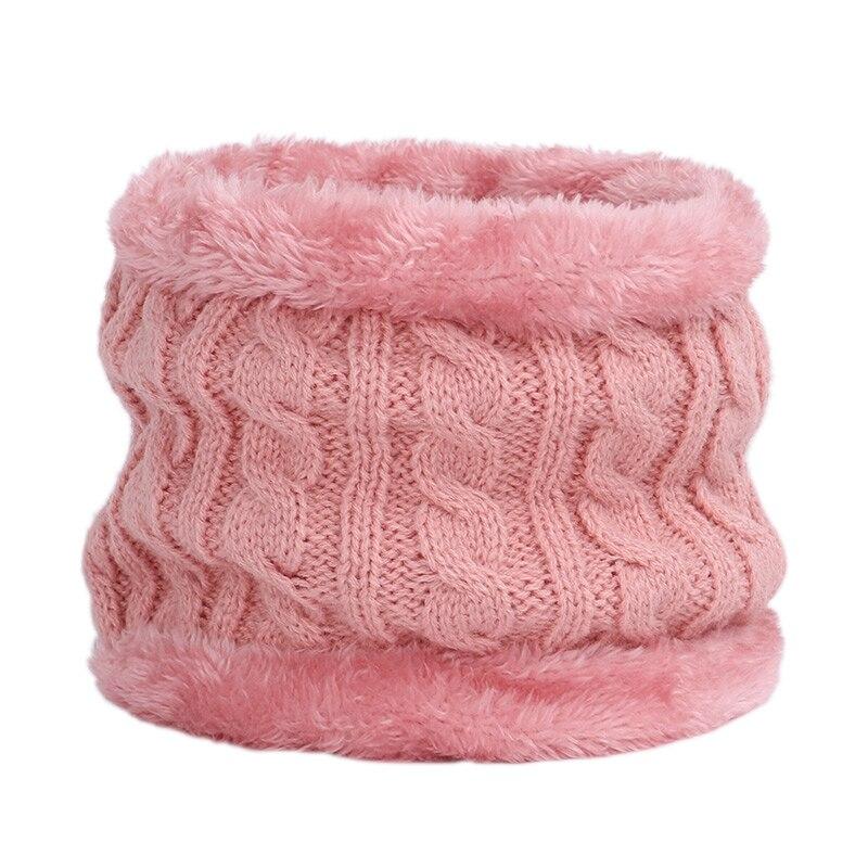 Круглый зимний шарф, детские милые вязаные шарфы, детские вязаные толстые бархатные кольца, мягкий теплый шейный платок для малышей из хлопка - Цвет: Dark pink