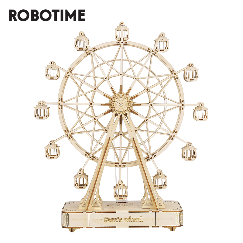Robotime DIY Wooden Rotatable Ferris Wheel Model With Playing Music Toys For Children Birthday TGN01
