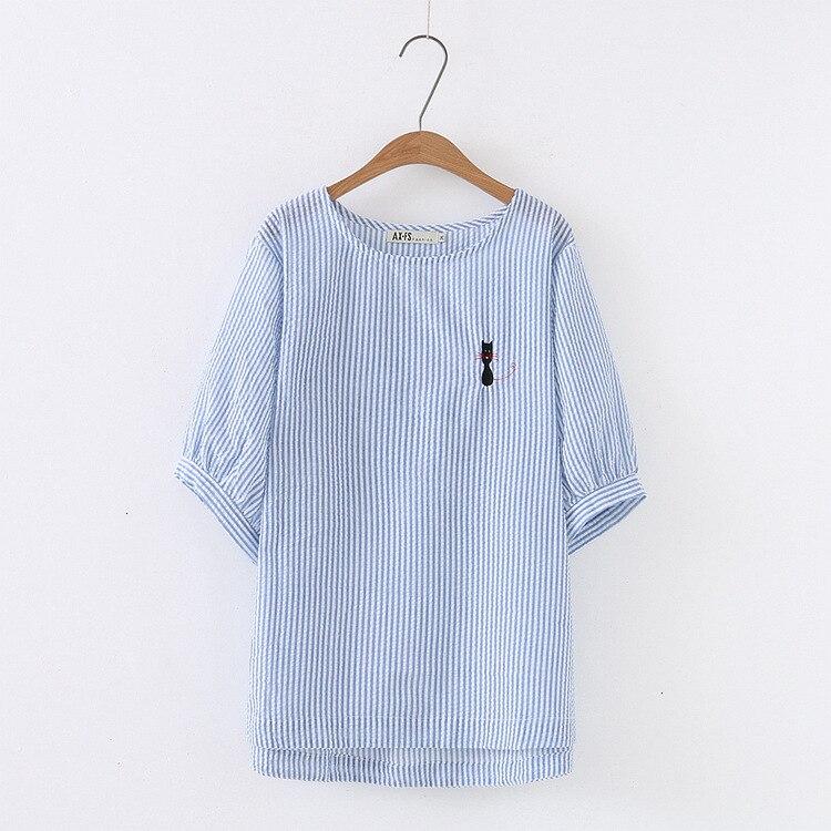 Grande taille printemps et été femmes manches courtes chats blouse chat broderie rayé coréen dame dessus de chemise