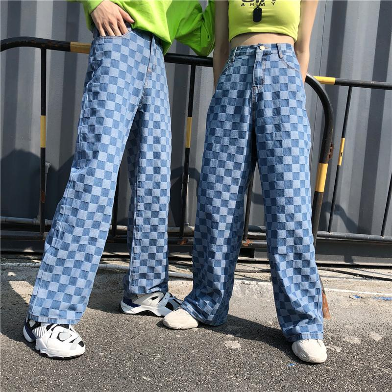 Harajuku Pants Women 2020 Jeans Woman Streetwear Checkered Korean Style Straight Wide Leg Jeans Plaid Straight Trousers