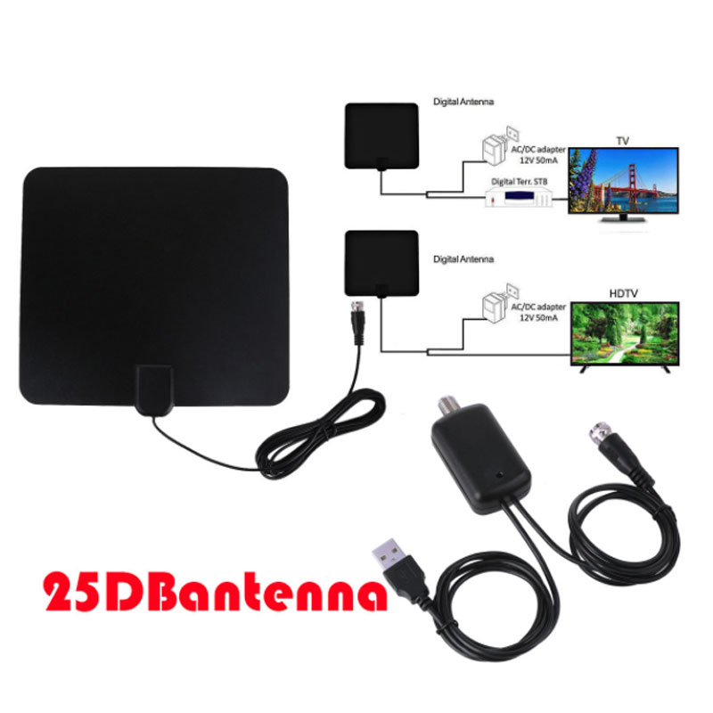 HDTV014 50 Miles Range HDTV Antenna for Indoor Amplified Digital TV Antennas Signal Booster Satellite signal receiver Aerial in TV Antenna from Consumer Electronics