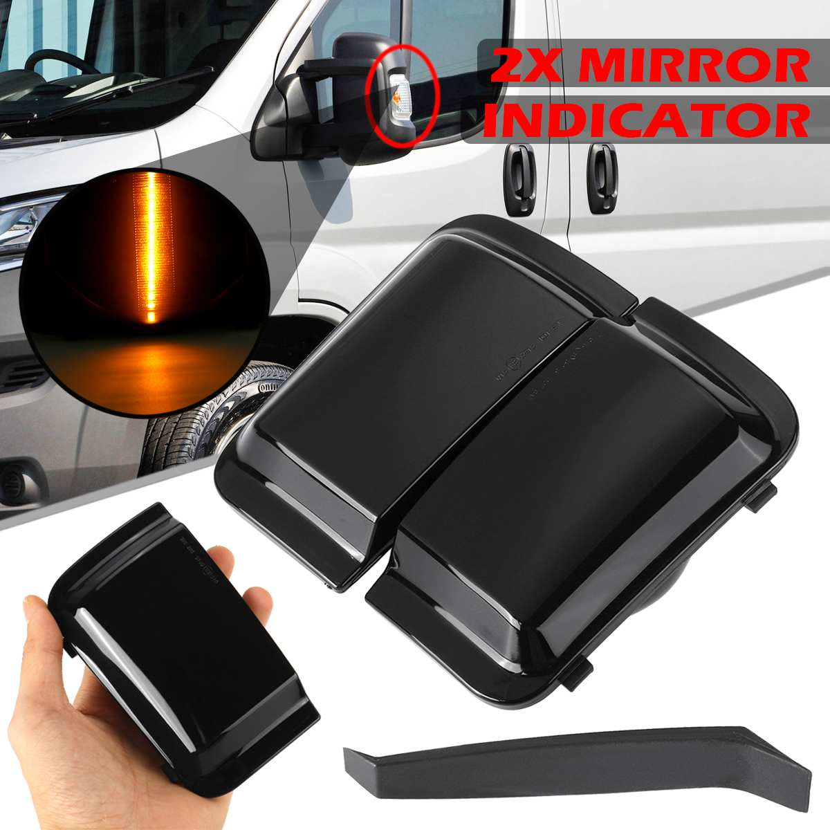 2x Side Mirror Light Smoke Lens Rearview Mirror Indicator Lights Welcome Lamps Signal Lamp For FIAT DUCATO For PEUGEOT BOXER