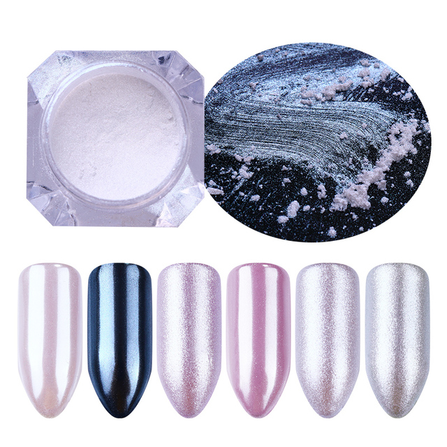 1 Box Pearl Nail Glitter Shiny Mirror Matte Shell White Purple Blue Nail Art Pigment Dust Powder  Nail Decorations