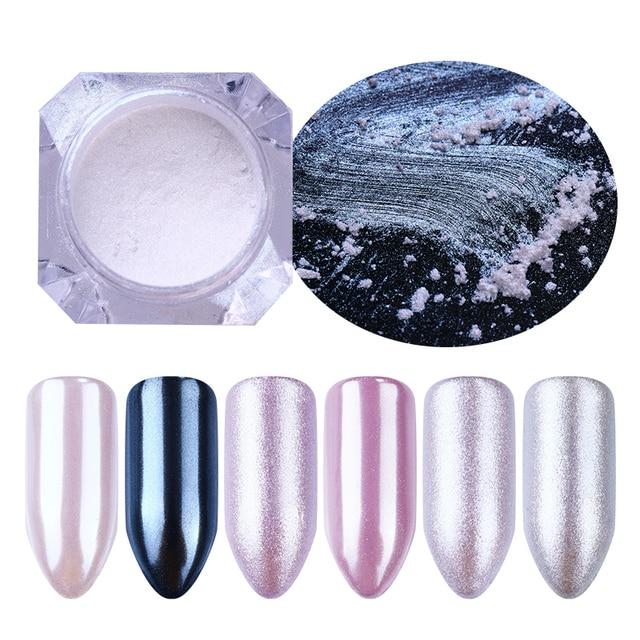 1 kutu inci tırnak Glitter parlak ayna mat kabuk beyaz mor mavi tırnak sanat Pigment toz tozu tırnak süslemeleri