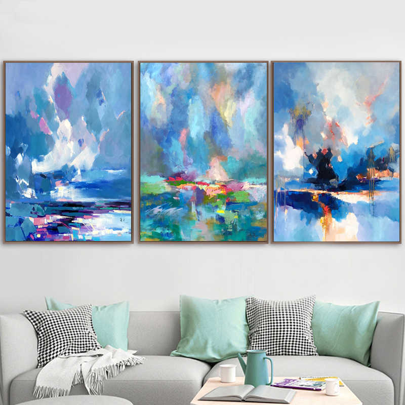 Abstract Color Canvas Painting Poster and Print Unique Decor Wall Art Pictures for Living Room Bedroom