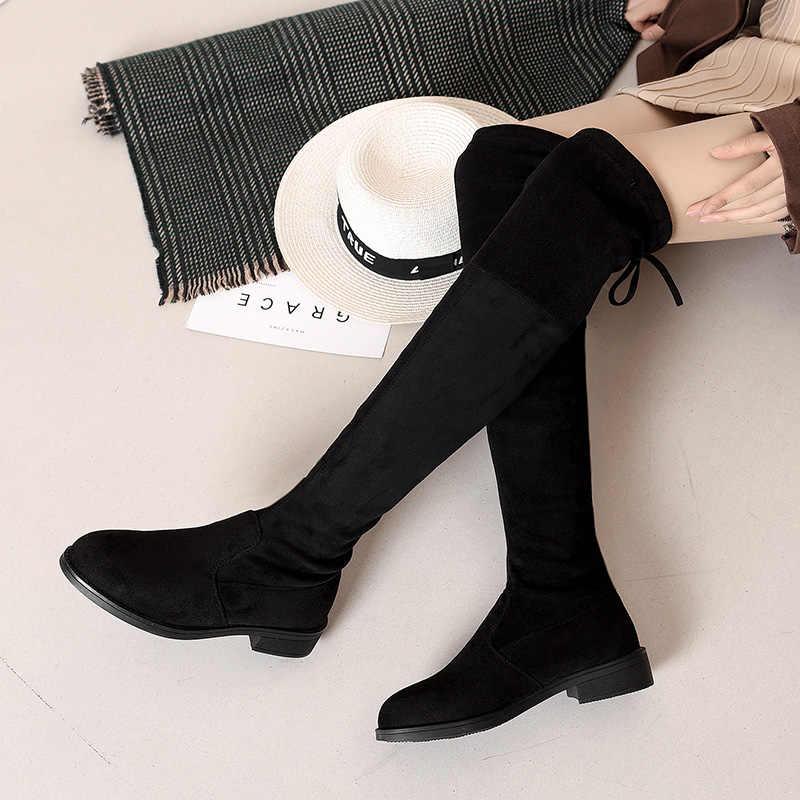 2019 ผู้หญิงกว่าเข่าบู๊ทส์ LACE UP สีดำเซ็กซี่รองเท้าส้นสูงรองเท้าผู้หญิงสูง BOOT WEDGE ฤดูหนาวสบายแฟชั่น botin Mujer