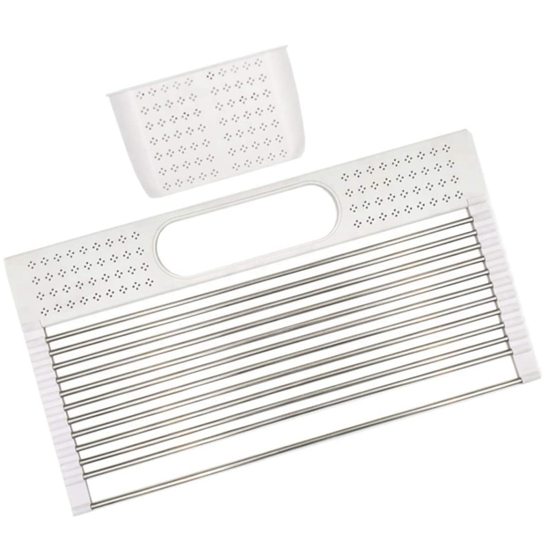 Dish Drying Rack over the Sink 20inch x 11inch Large Roll Up Stainless Steel Kitchen Drainer with Utensil Holder