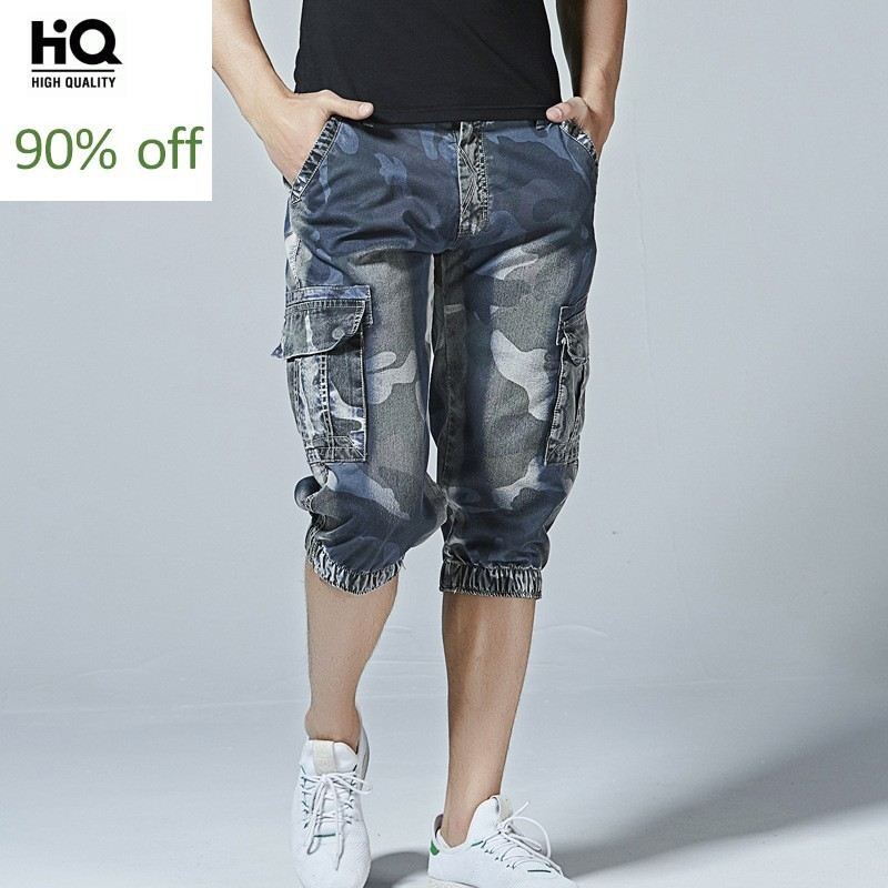 Fashion Mens Camouflage Denim Shorts 2020 New Multi-Pockets Military Style Jogger Short Jeans Large Size Casual Short Pants Male