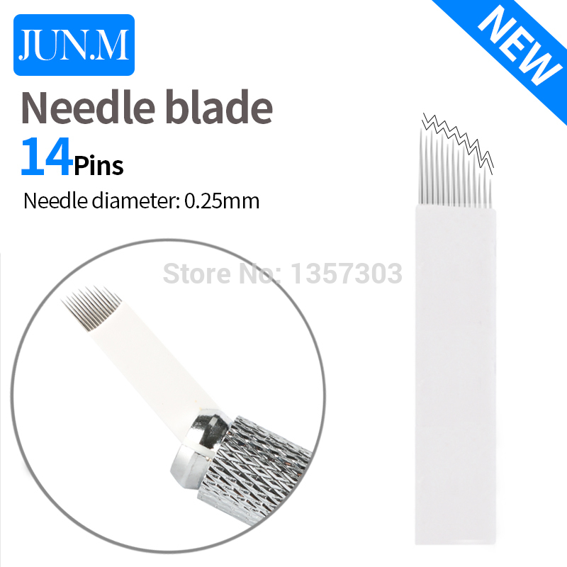 0.25mm 50pcs 14 Needles Tattoo High Low Arc Micro Blade Eyebrow Embroidery Permanent Makeup Microblading Eyebrow Manual Needles
