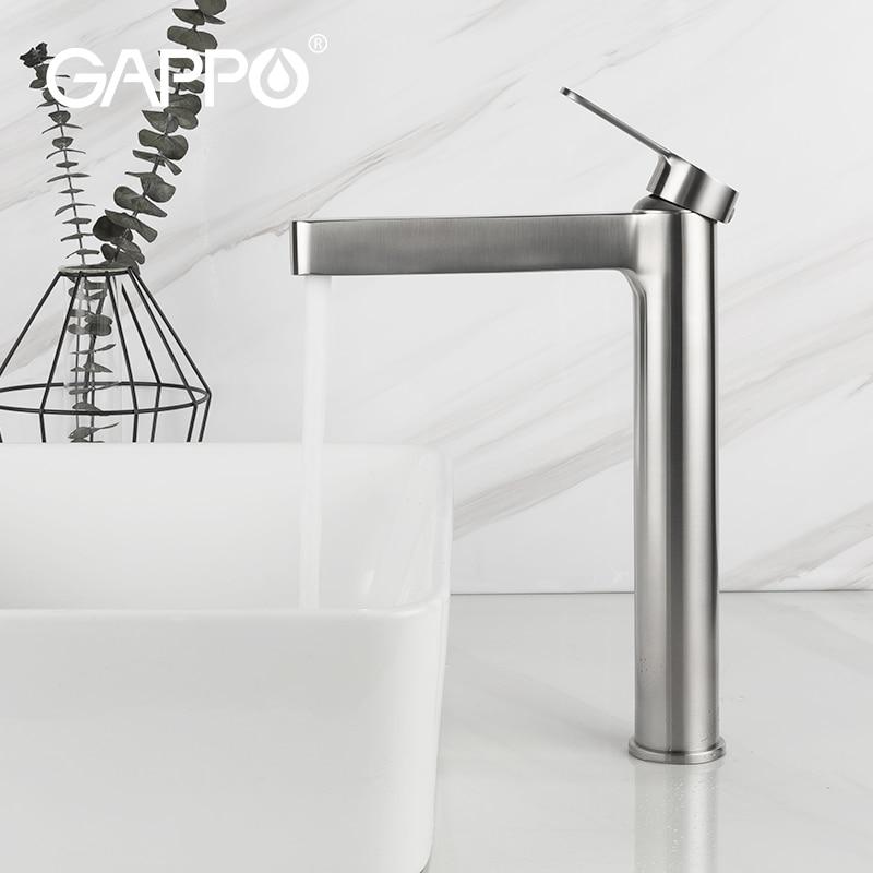GAPPO yüksek kalite uzun banyo lavabo musluğu banyo ince sıcak ve soğuk havza su musluk bataryası şelale banyo tek lavabo musluğu