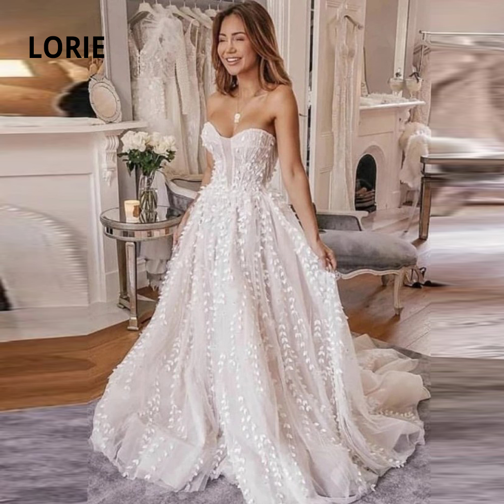 LORIE Lace Wedding Dresses High Quality Bridal Gowns A-line Sleeveless Backless Strapless Boho Princesss Vestidos De Noiva