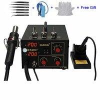 KADA 852D+ 2 In 1 Hot Air Gun & Solder Iron BGA Soldering Station Telephone SMD Repair With Free Tool