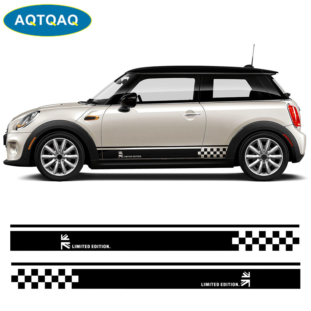 1Pair Car Side Skirt Decal Sill Door Side Decal Stickers Vinyl Door Side Stickers for MINI Cooper R50 R52 R53 R56 R57 R58 R59