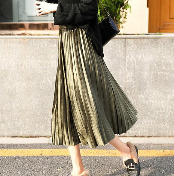 KUDVOGUE New 2020 Long Velvet Maxi Pleated Skirt Metallic Silver Midi Skirt High Waist Elascity Casual Party Skirt Vintage