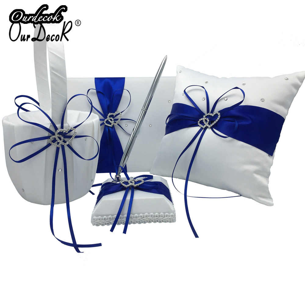 4Pcs/set Royal Blue Wedding Decoration Bridal Satin Ring Pillow+Flower Basket+Guest Book+Pen Set Casamente Products