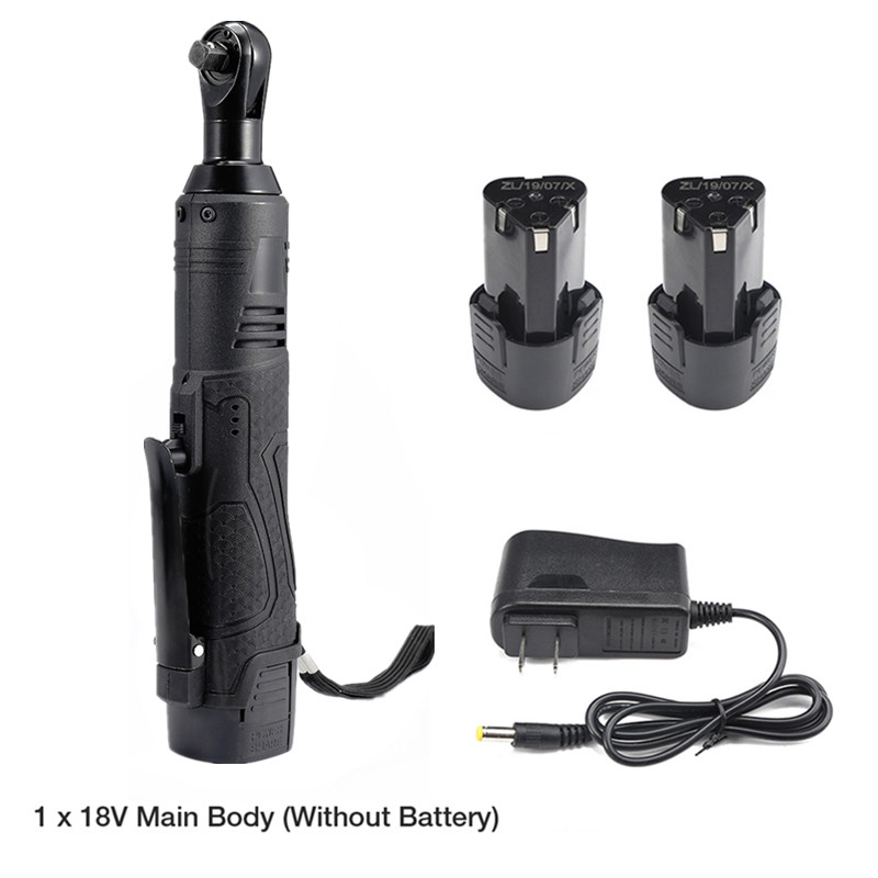 3/8'' 2 Lithium-Ion Battery Electric Ratchet Wrench Rechargeable Electric Cordless Right Angle Wrench Kit 12V 18V 28V