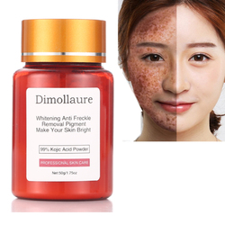 Dimollaure 50g puro 99% de Ácido Kójico cuidados com o rosto whitening creme remover Sardas melasma Acne Manchas de queimadura pigmento Melanina