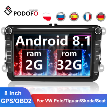 Podofo 2 din Android 8.1 Car Radios 8 GPS Multimedia Player For VW/Volkswagen/Golf/Passat/b7/b6/Skoda/Seat/Octavia/Polo/Tiguan image